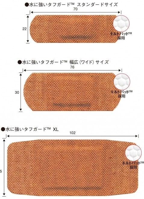バンドエイド® 水に強いタフガード™  サイズ種類